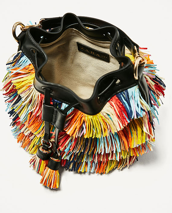 mini saca de flecos multicolor zara