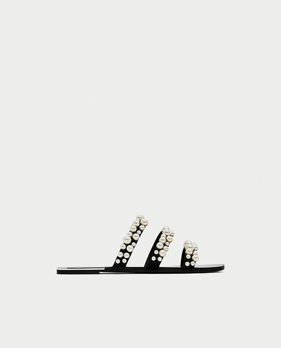 sandalias Zara tiras perlas