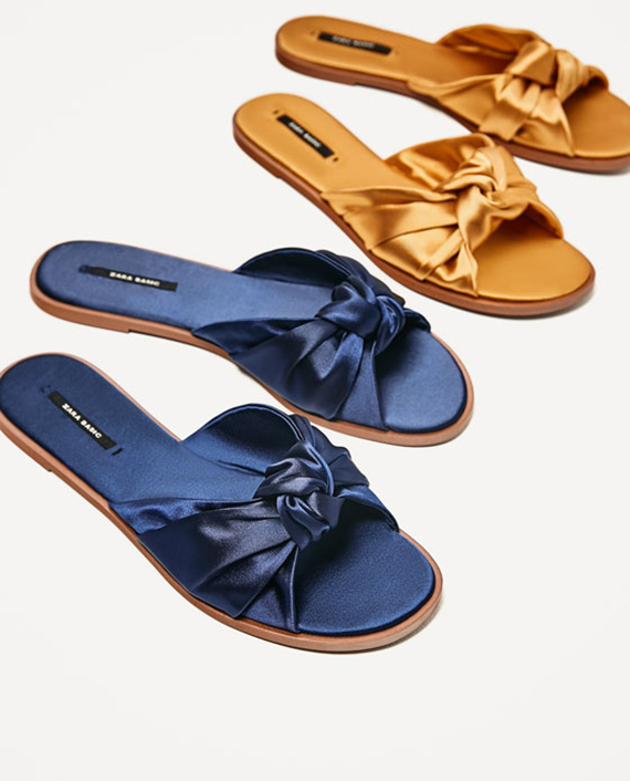 sandalias planas seda azul