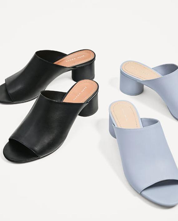 sandalias de tacón redondo