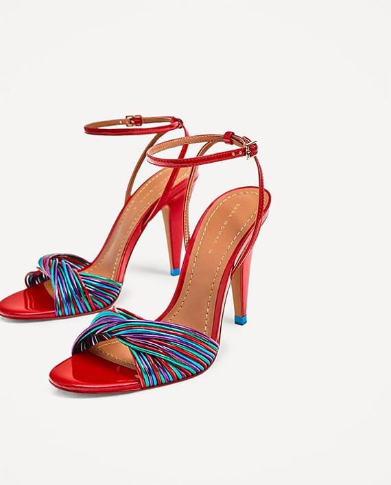 sandalias Zara tiras multicolor