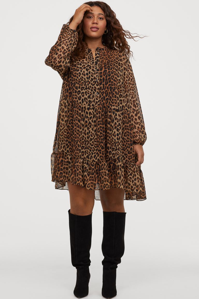 Vestido de estampado de leopardo gasa