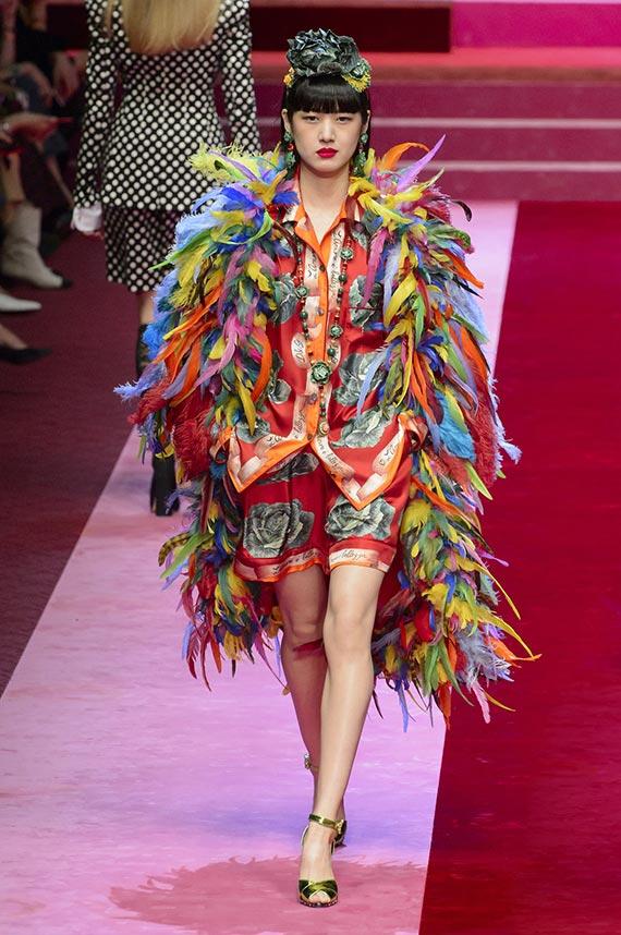 ropa plumas multicolor Dolce & Gabbana