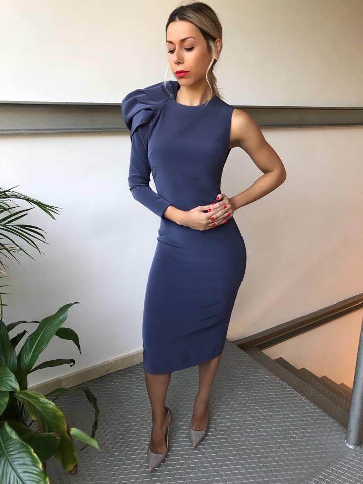 vestido azul boda corto