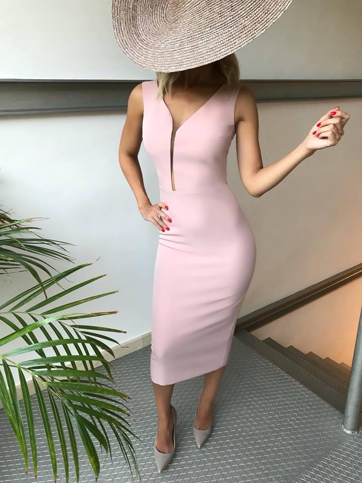 vestido rosa boda corto escote