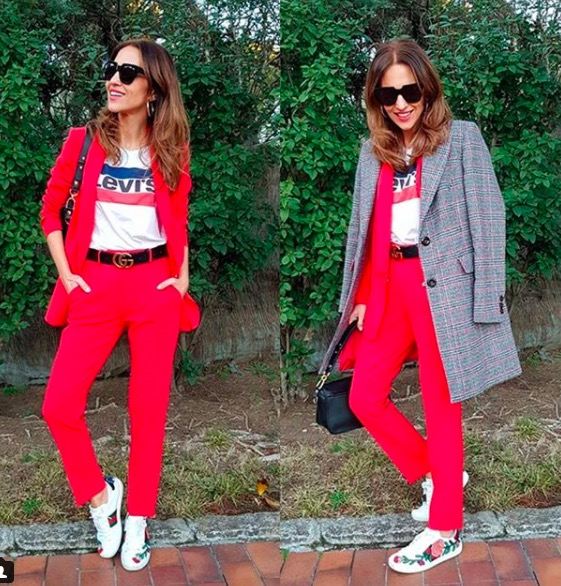 paula echevarria traje rojo