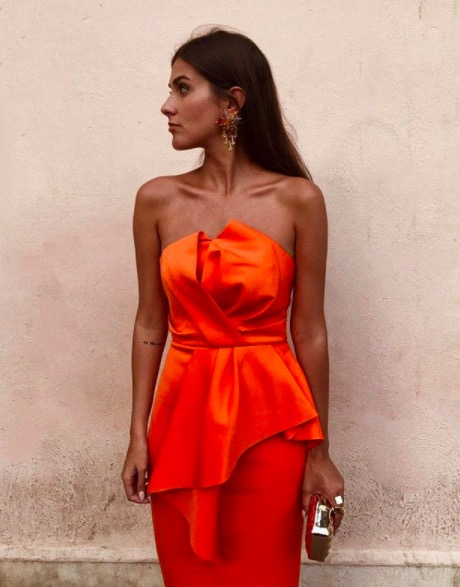 vestido naranja asos