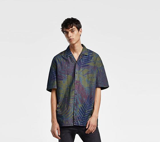 camisa zara denim estampado multicolor