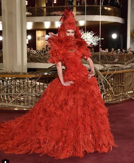 Dolce Gabbana plumas rojas