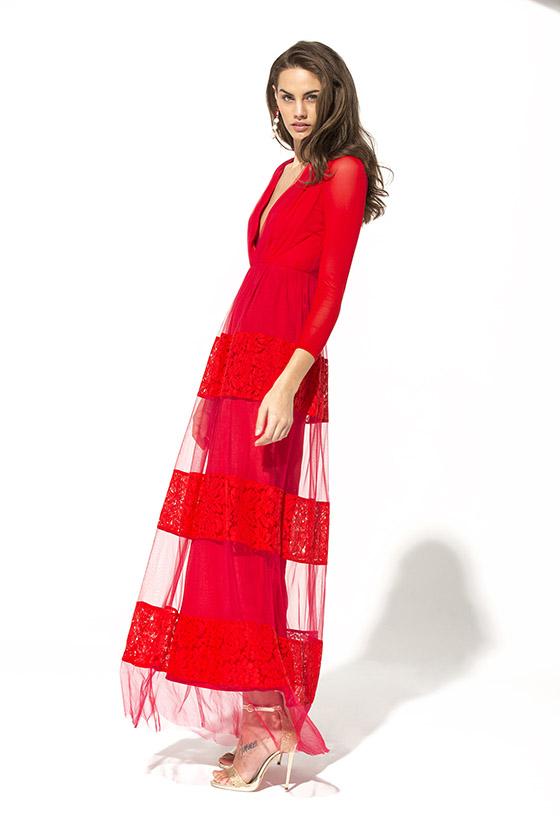 Teria Yabar vestido rojo Rubí
