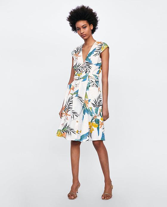 vestido estampado zara hojas