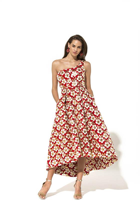 vestido rojo margaritas Teria Yabar