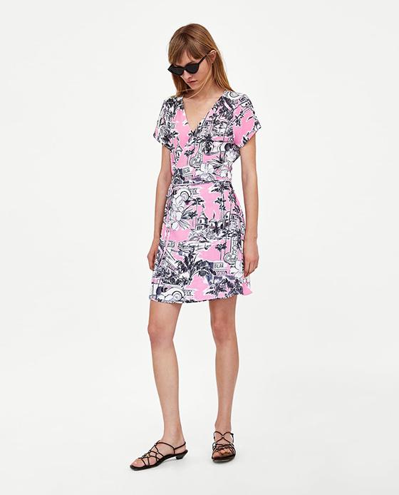 vestido estampado zara rosa