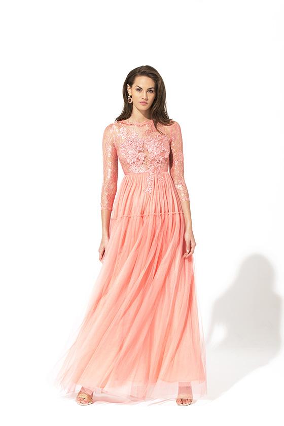 Teria Yabar ópera vestido rosa