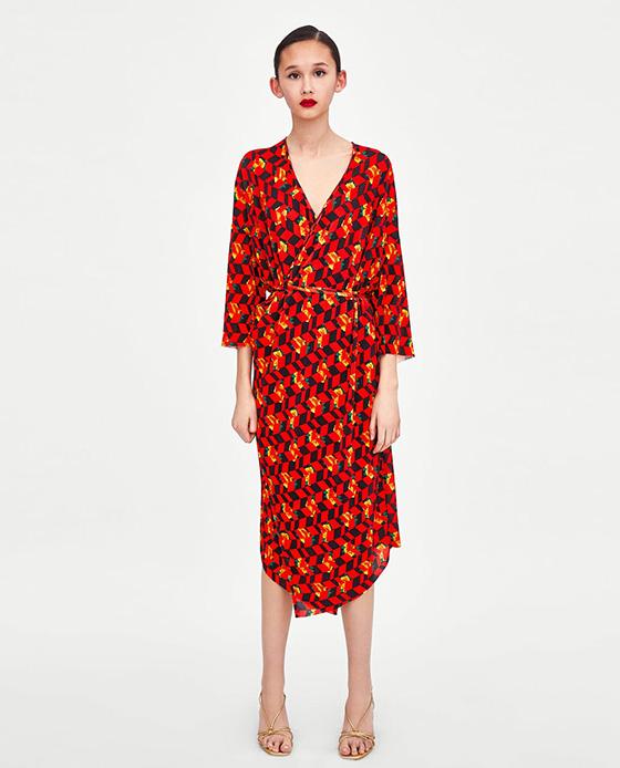 vestido estampado zara amarillo y rojo