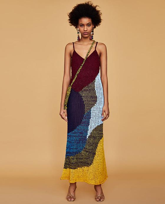 vestido estampado zara multicolor