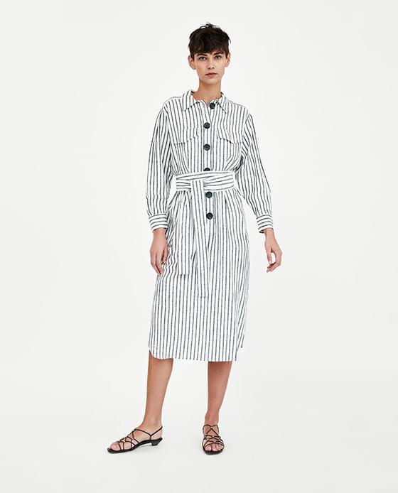vestido estampado zara rayas