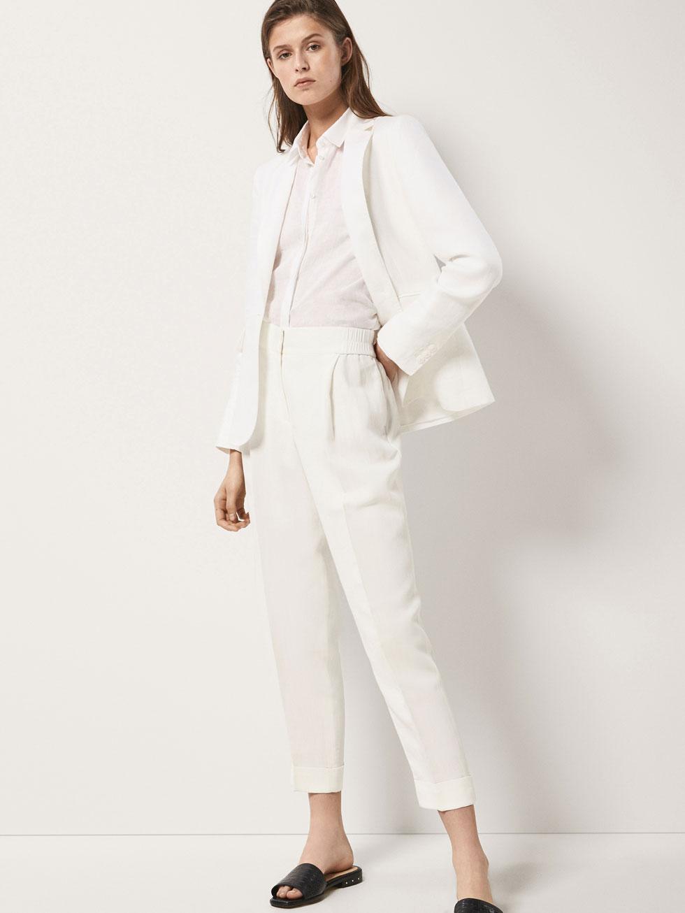 pantalon lino massimo dutti