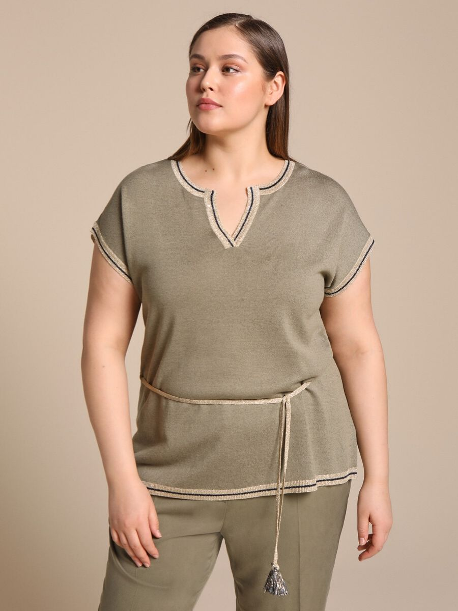 Jersey largo de mujer talla grande Woman Plus Collection con lúrex