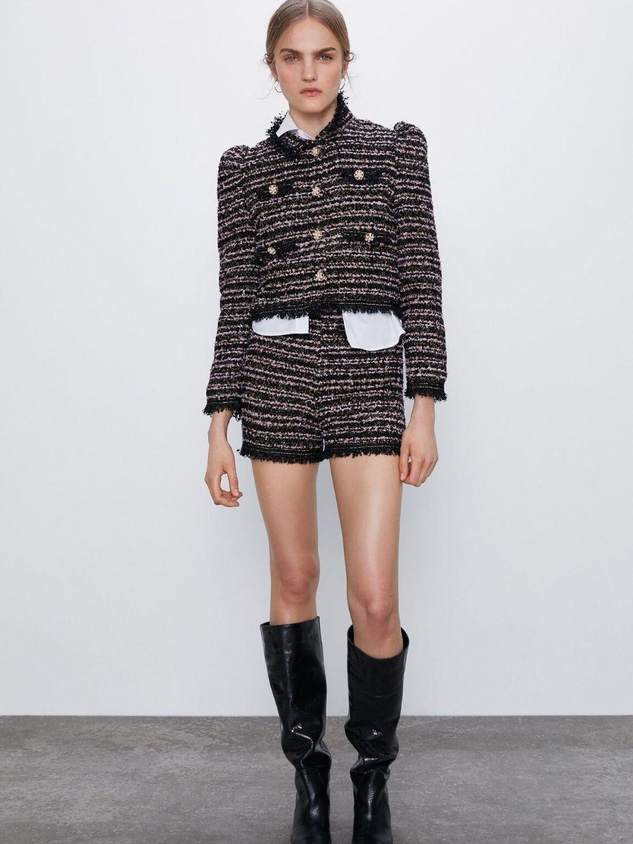 Short tweed estilo Chanel