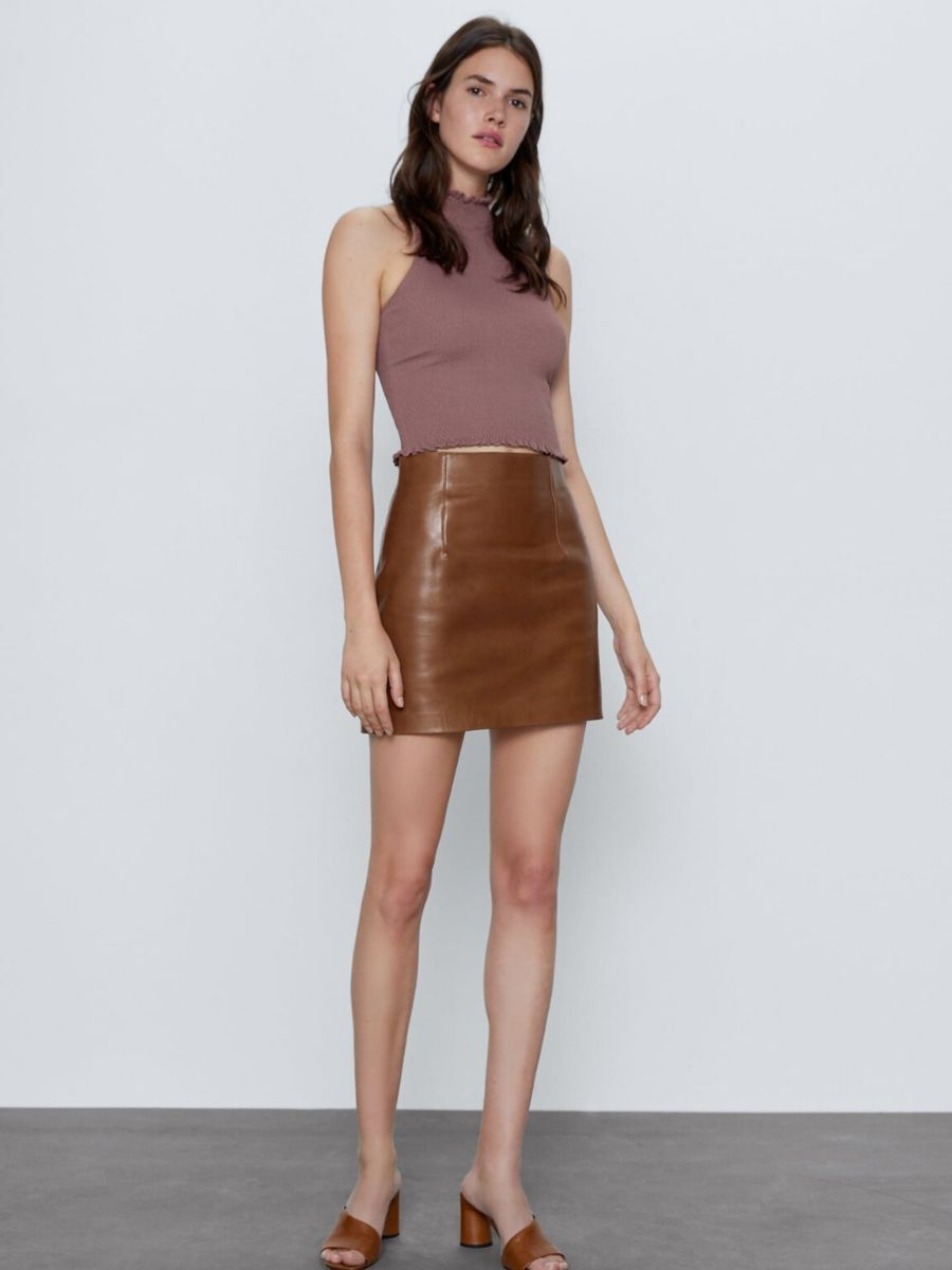 Falda pantalón cuero marrón