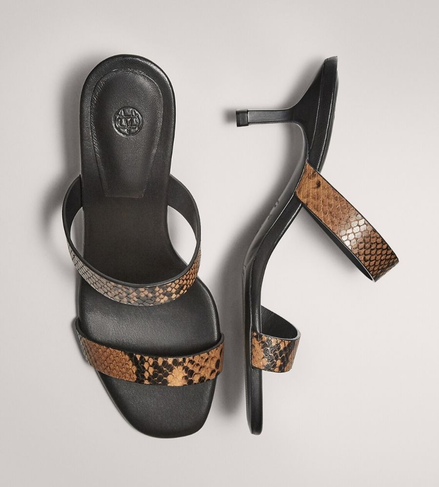 SANDALIA TACON MEDIO ANIMAL PRINT Massimo Dutti