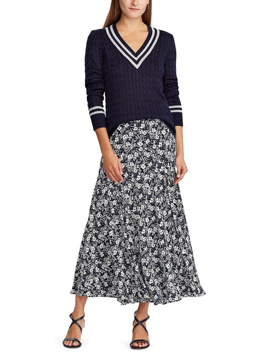 Falda larga con estampado de flores Ralph Lauren