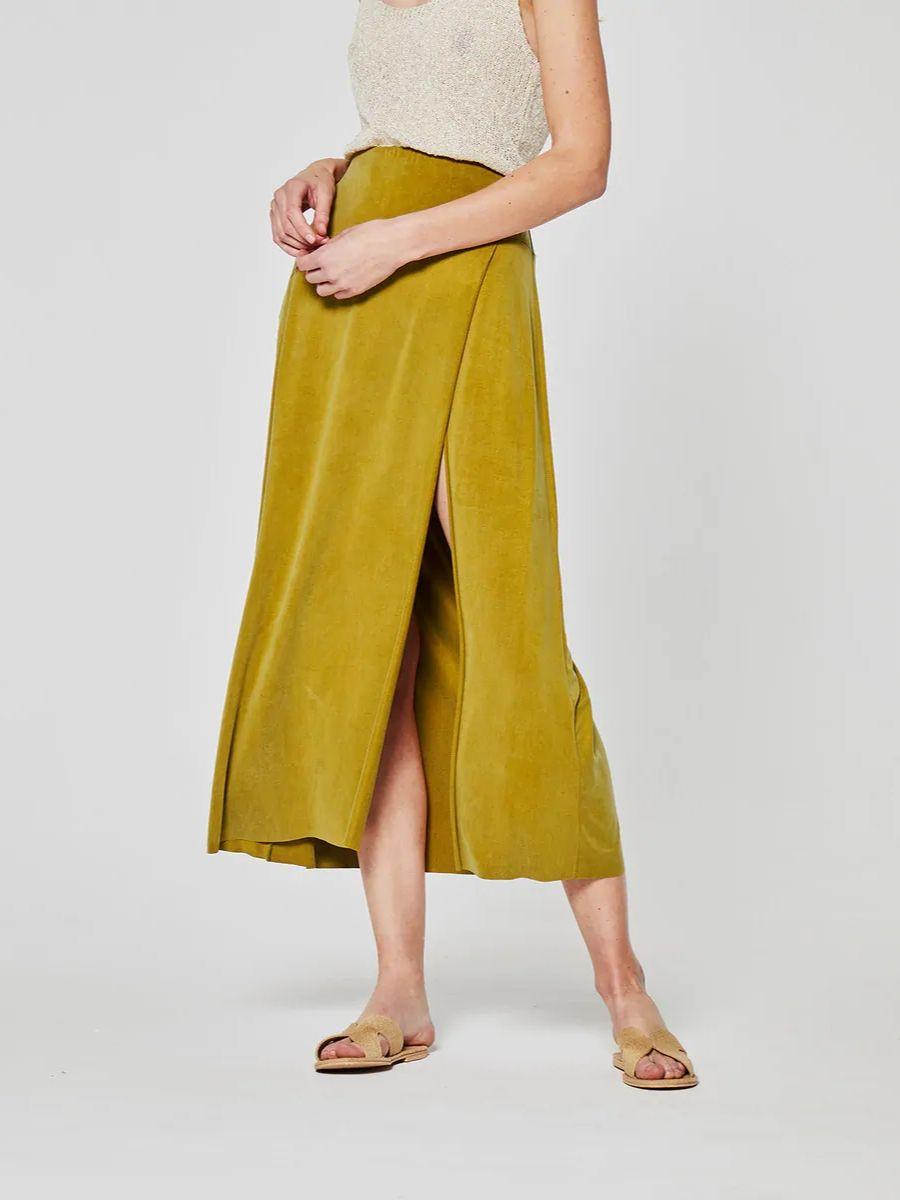 Falda larga de cupro lisa en verde System Action