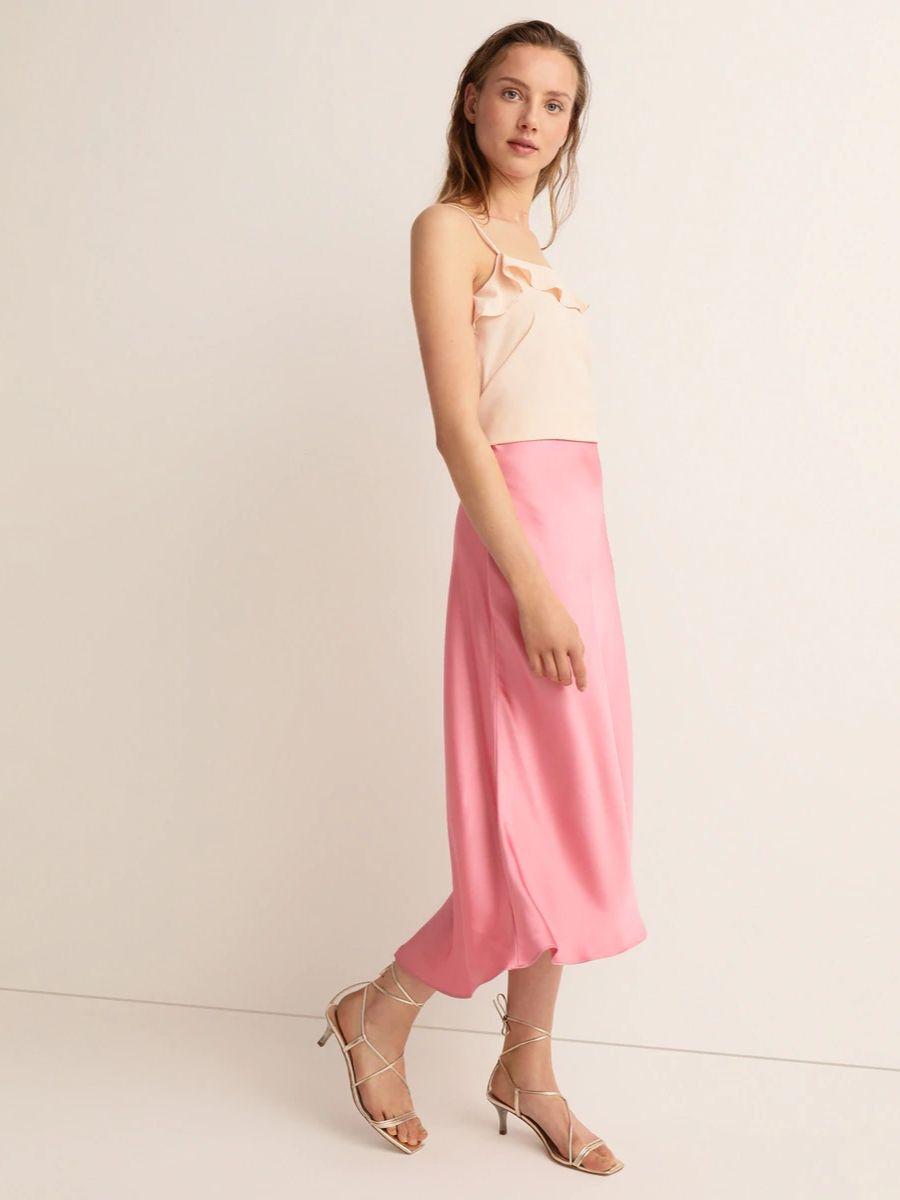 Falda de raso largo midi Easy Wear