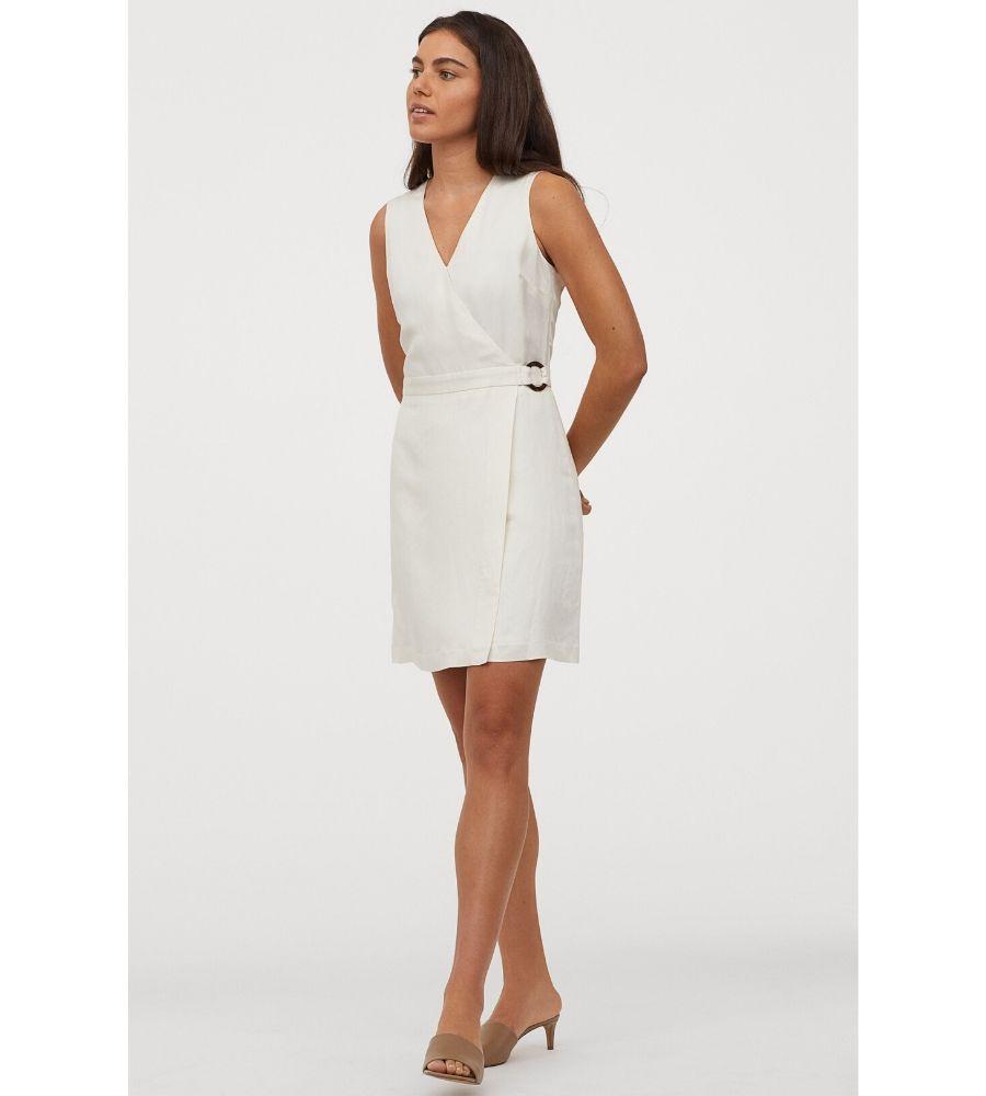 Vestido cruzado con lino 29,99 €
