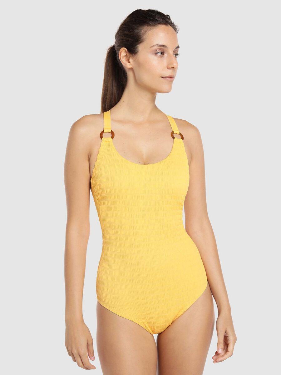 Bañador con escote redondo en amarillo