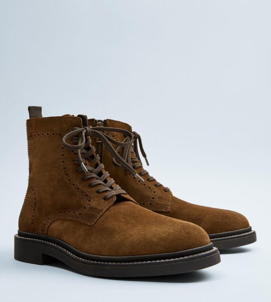 Bota piel marrón 49,99€ Zara