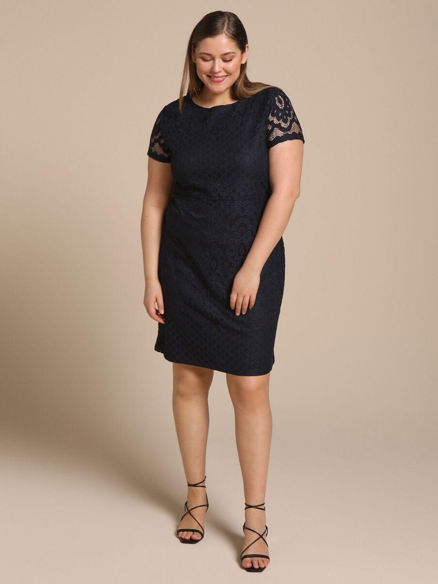 Vestido corto talla grande de encaje