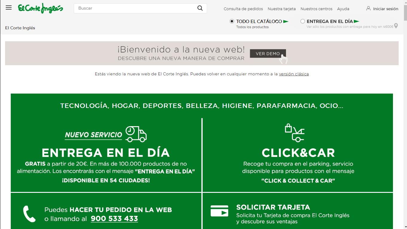 Nueva Web El Corte Inglés Beta