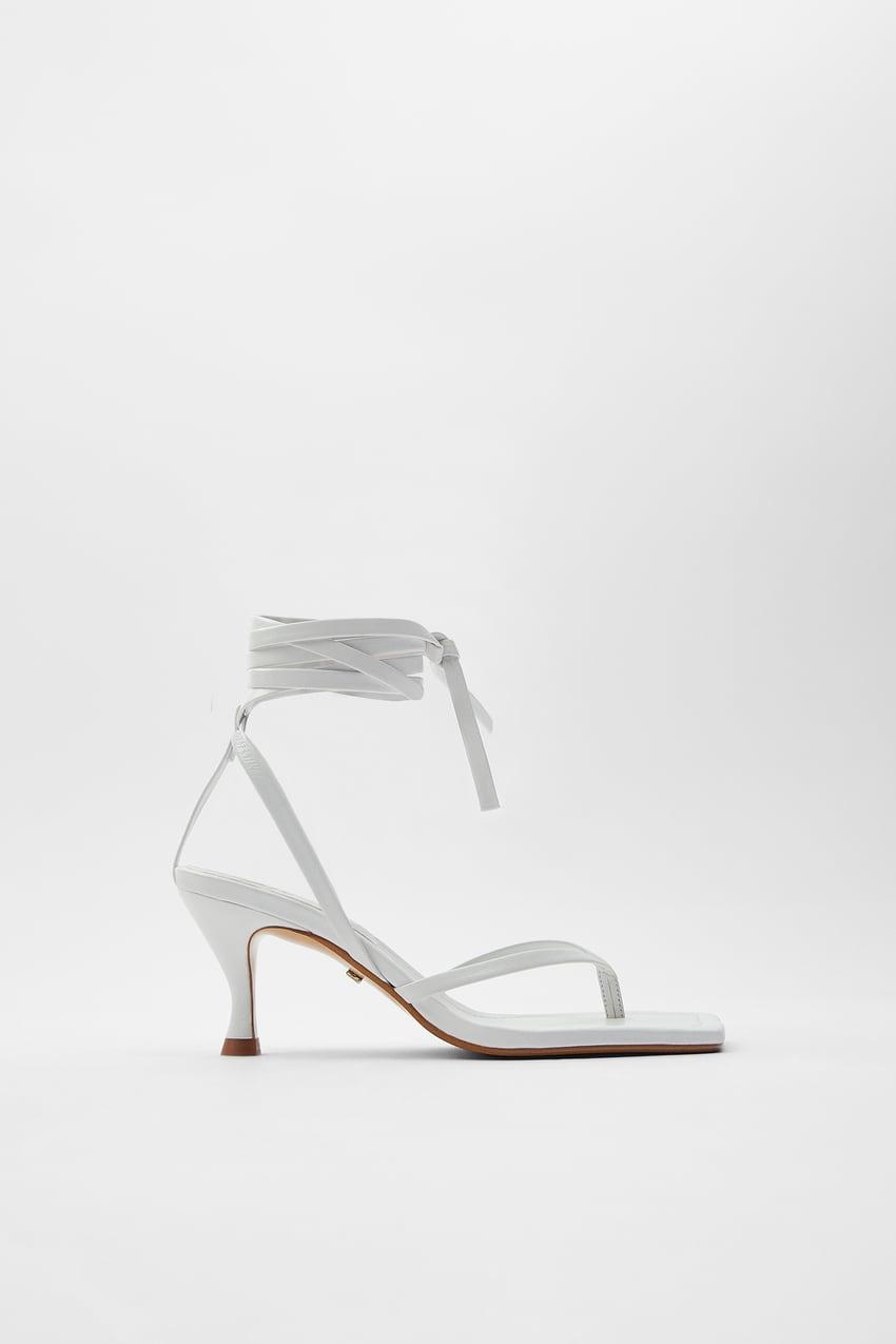 Sandalia Zara tacón con tiras de piel