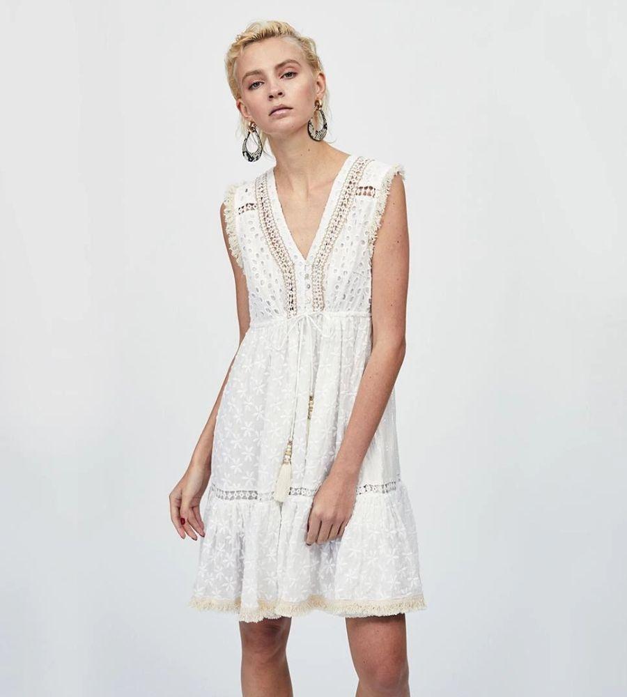 Vestido corto crudo sin mangas Lola Casademunt 79.95€
