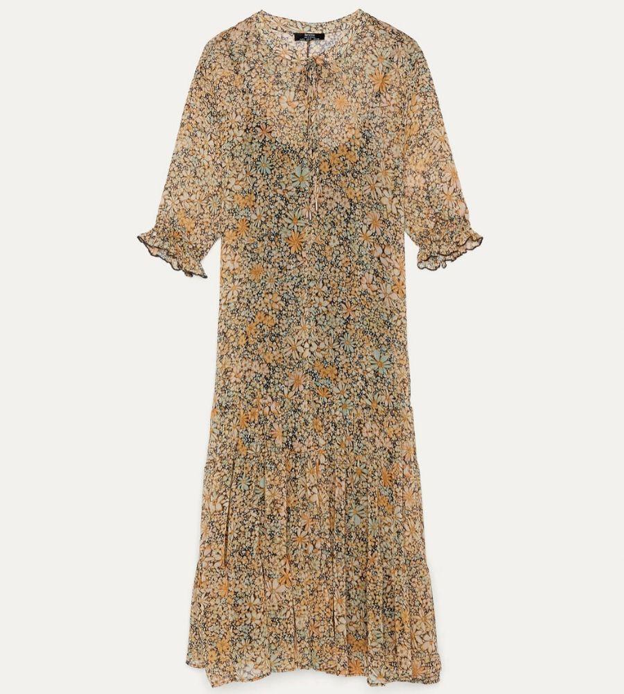 Vestido largo de flores Bershka
