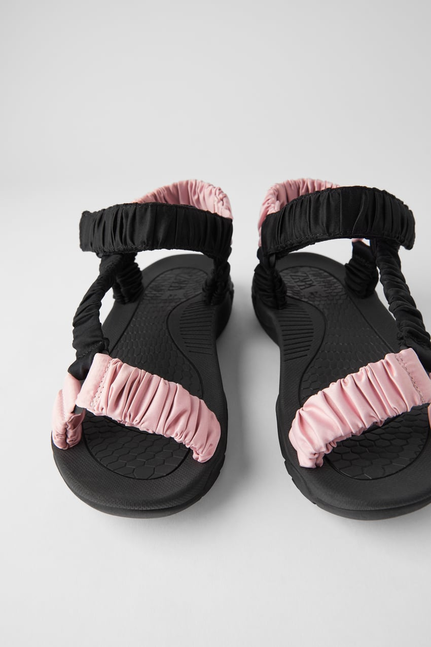 andalia Zara deportiva tira de raso rosa