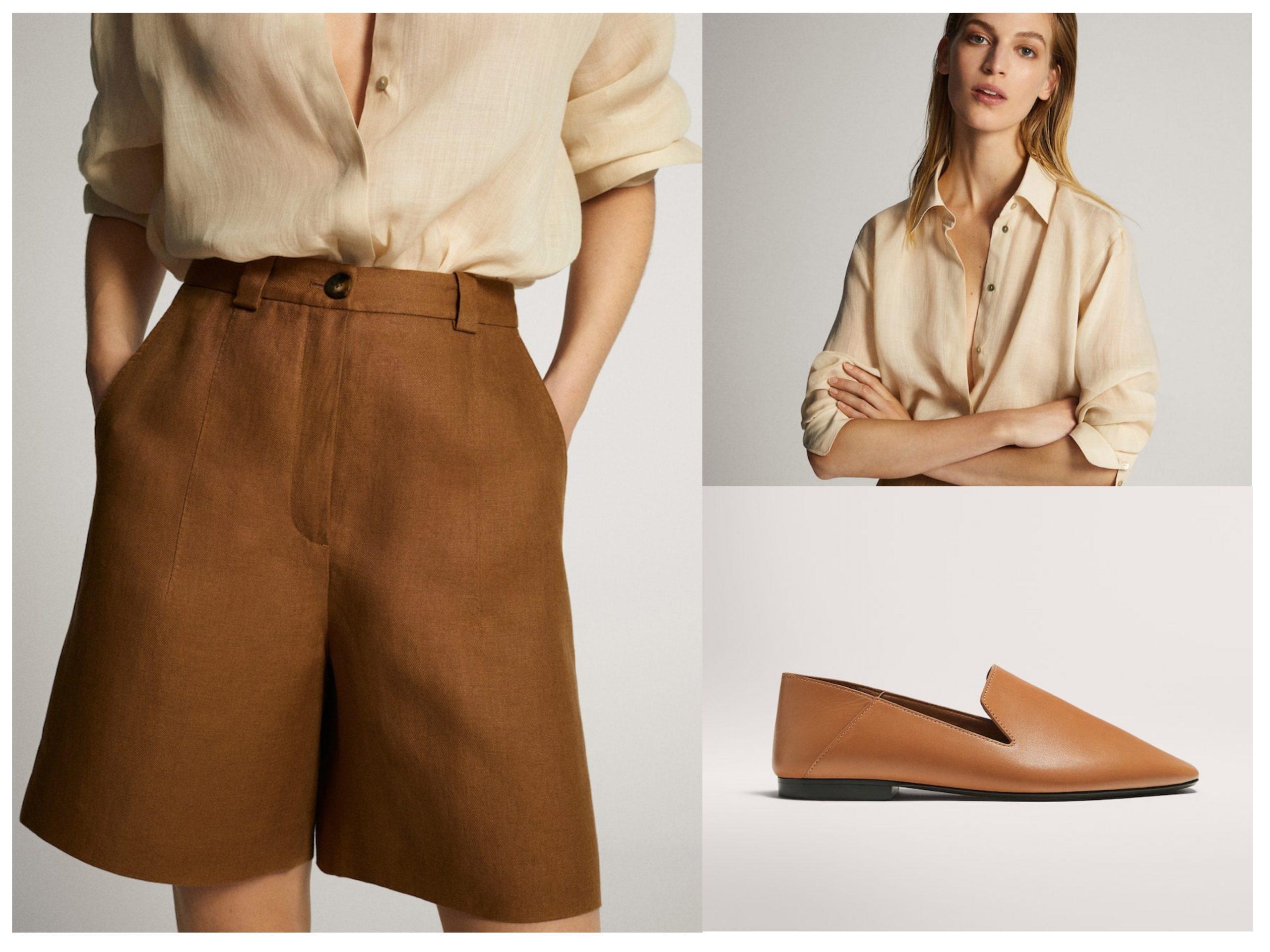Look de oficina de productos rebajados de Massimo Dutti, cuenta con bermudas marrones de lino, zapatos planos de piel y camisa con botones.