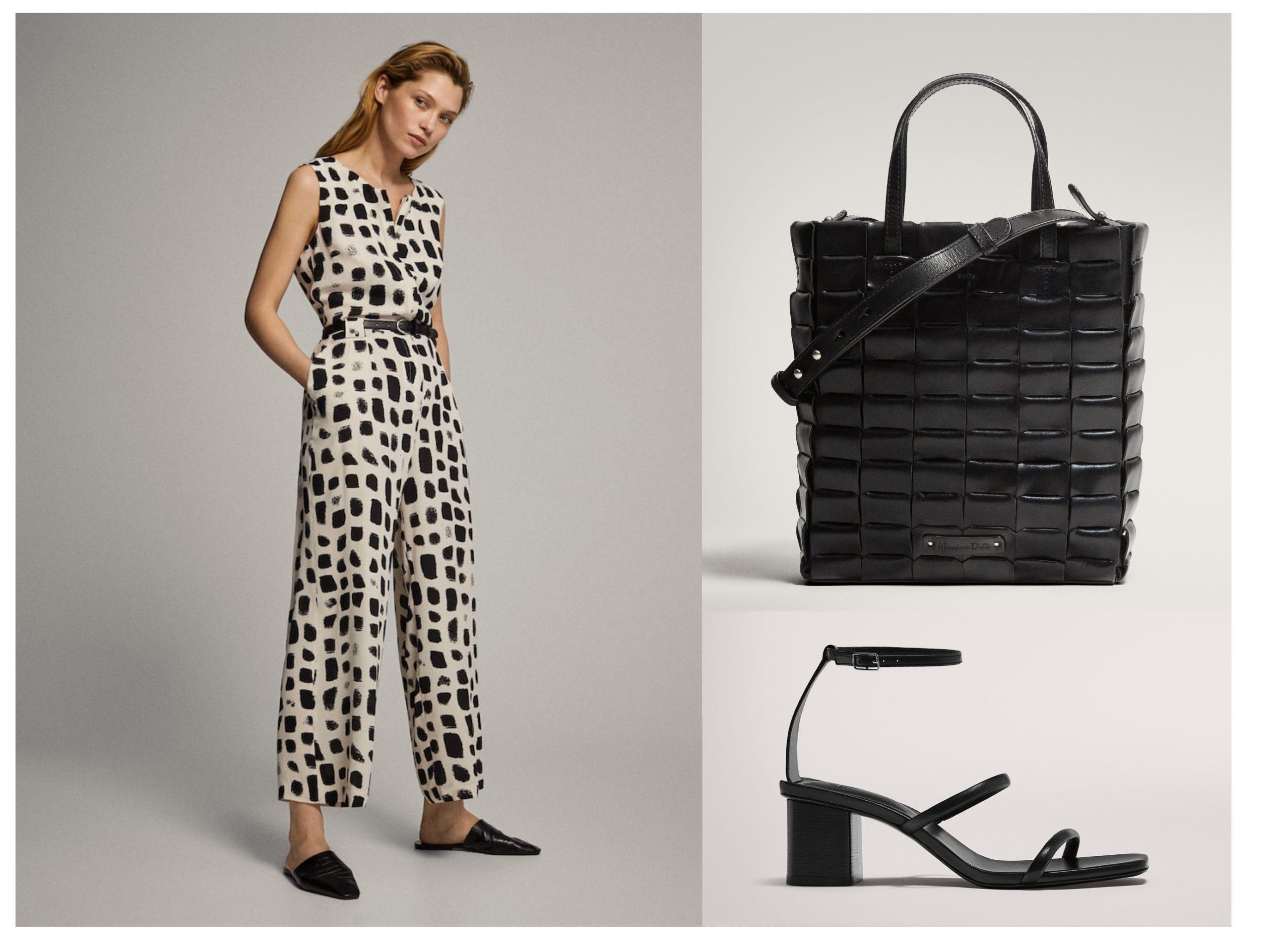Look de Massimo Dutti para ir a la oficina, cuenta con un mono con estampado, bolso negro de piel y zapatos de tacón con tiras.