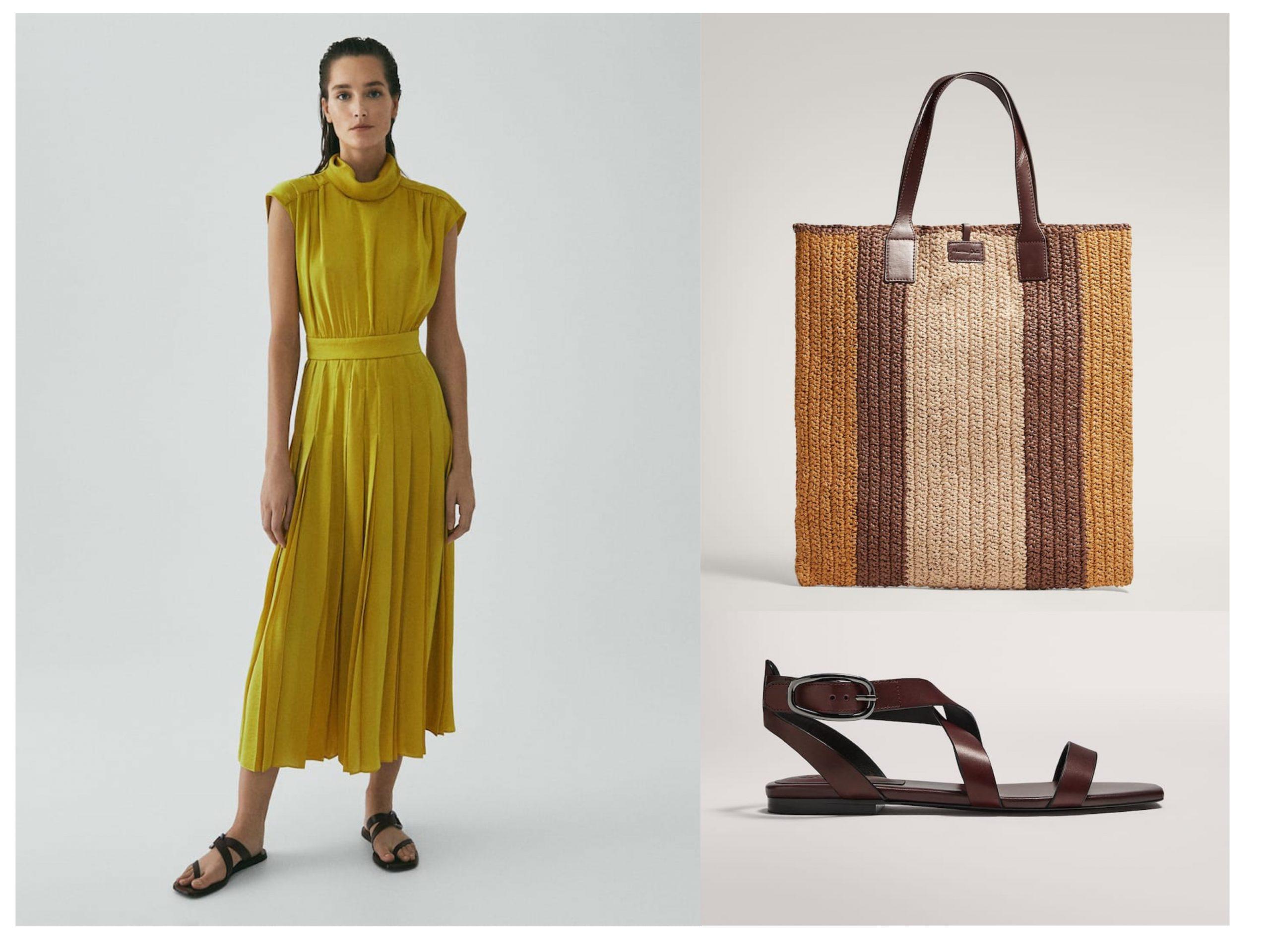 Total look de Massimo Dutti de noche de verano, cuenta con vestido plisado en tono amarillo-mostaza, bolso de rabia y sandalias planas con tiras cruzadas.