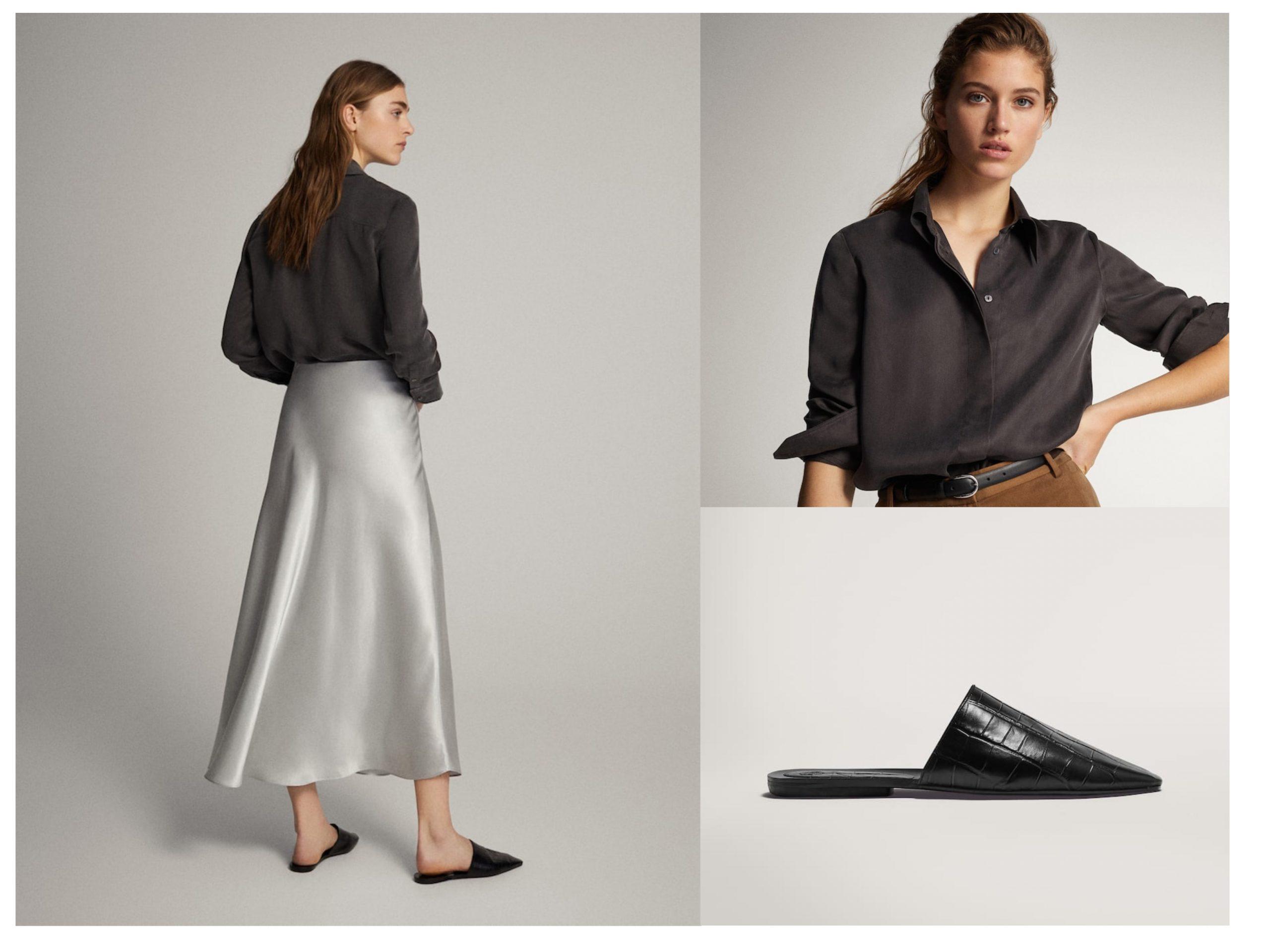 Total look de Massimo Dutti con productos rebajados, cuenta con sandalias planas, una falda color plateado y una camisa negra abotonada estilo seda.