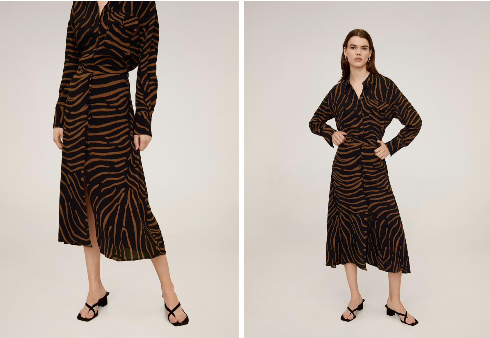 Falda larga de zebra Mango