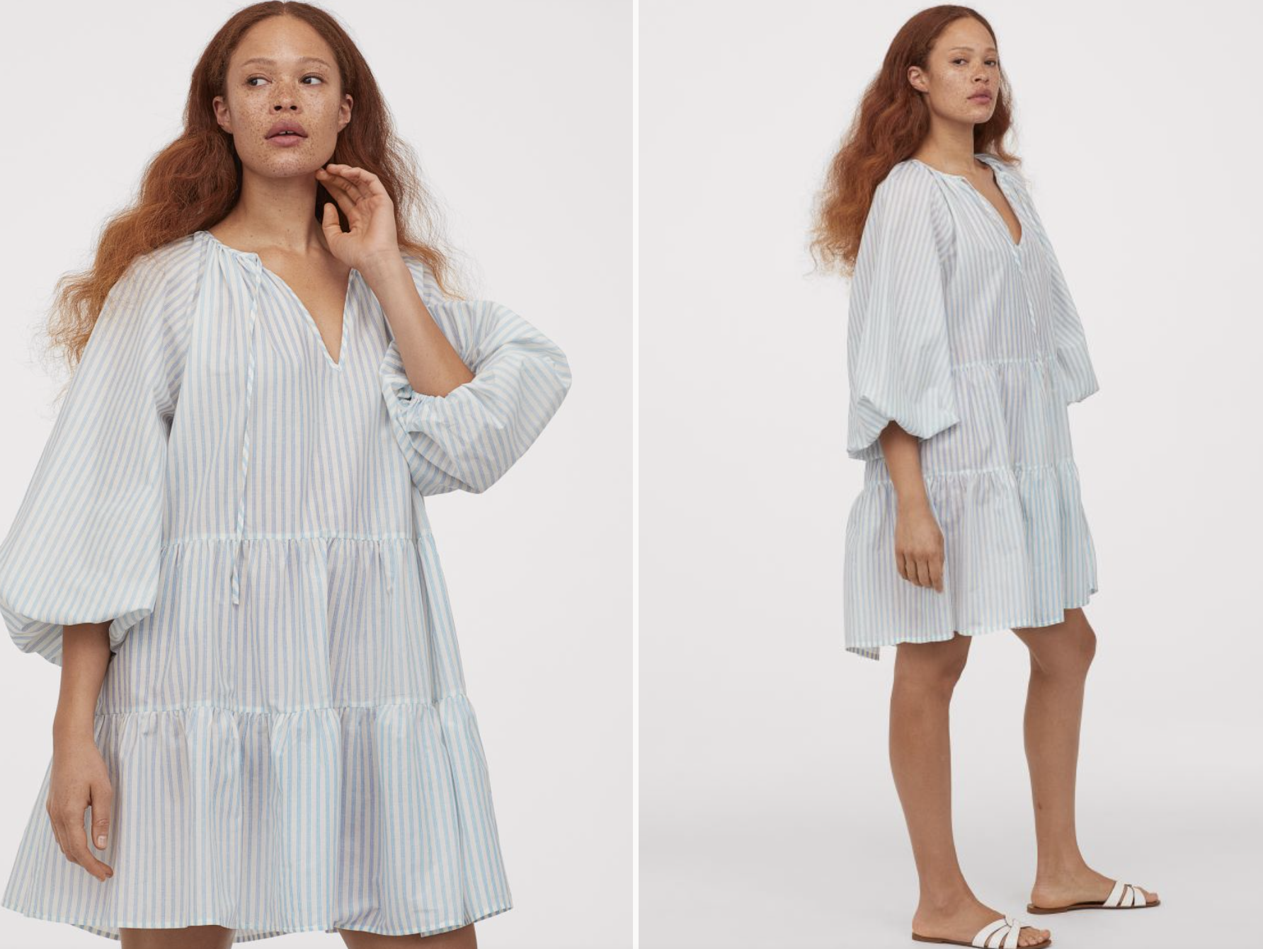 Vestido corto mangas abullonadas H&M