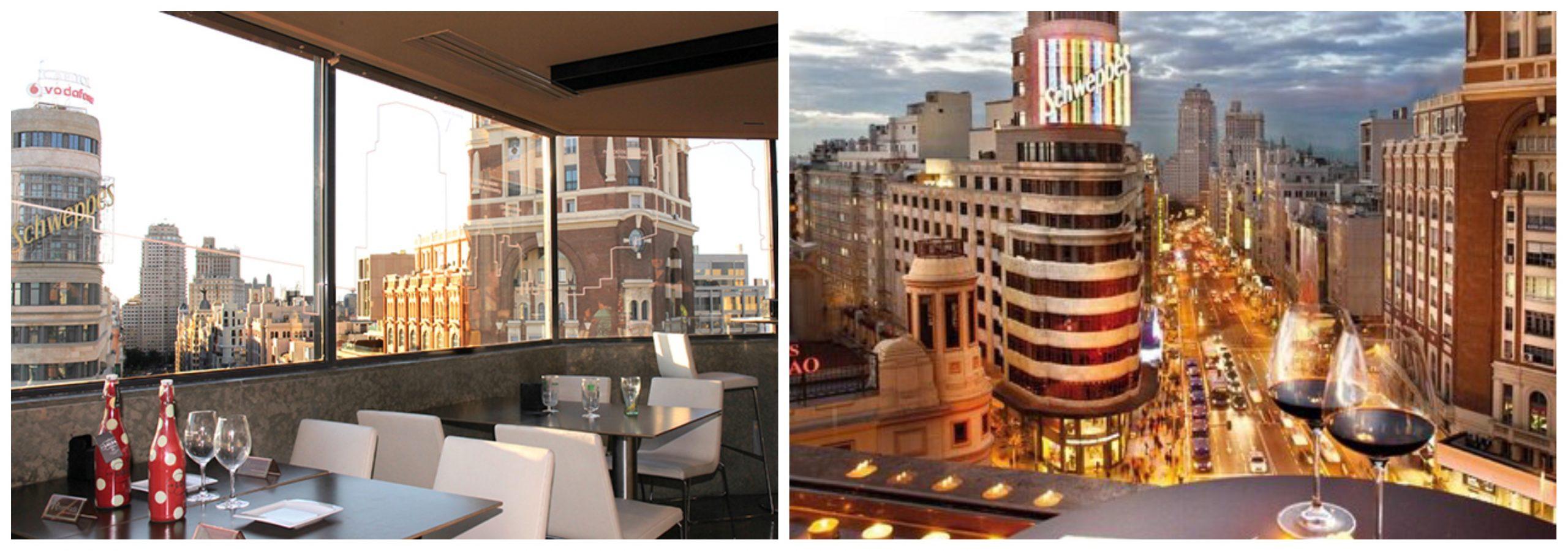 Azotea del Gourmet Experience de Callao con vistas a la Gran Vía de Madrid