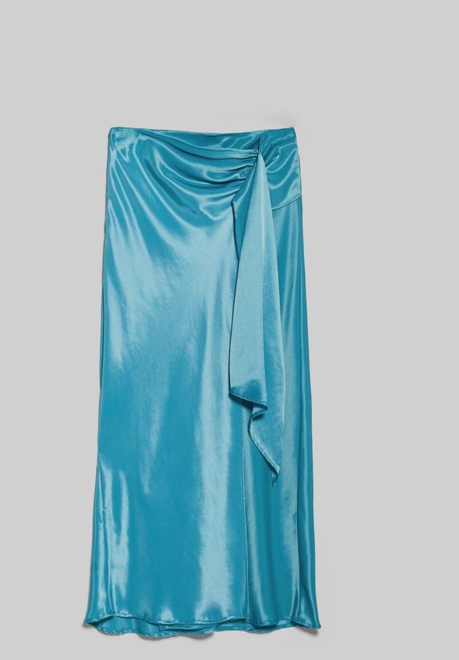 Falda maxi santén color azul