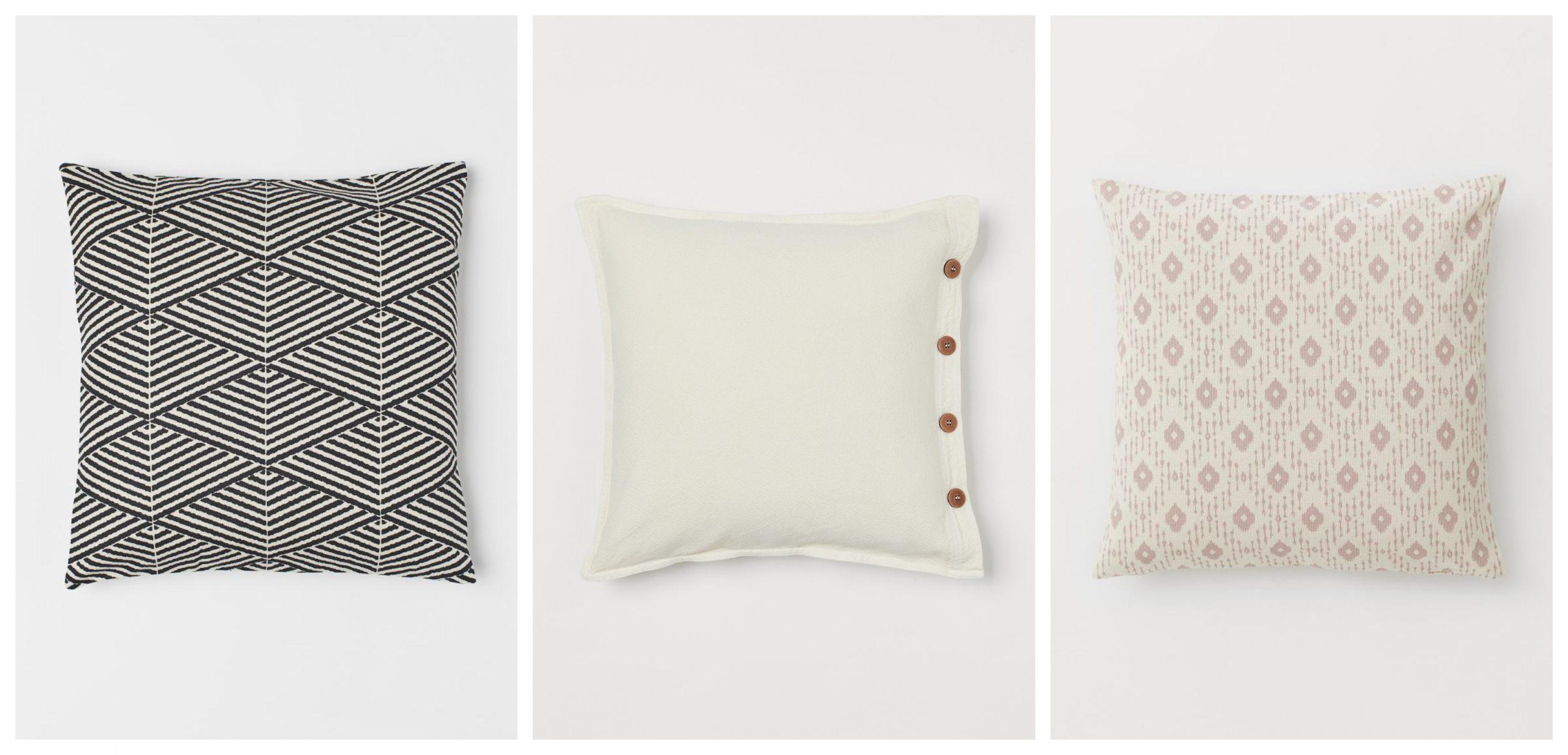 3 diseños diferentes de fundas de cojines de H&M home rebajados para redorar tu casa.