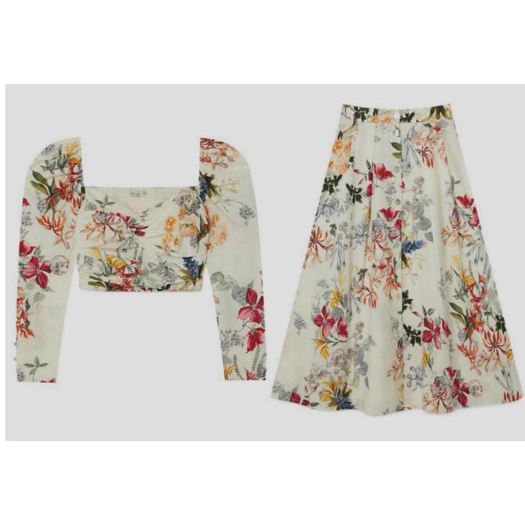 Conjunto falda midi y crop top estampado floral