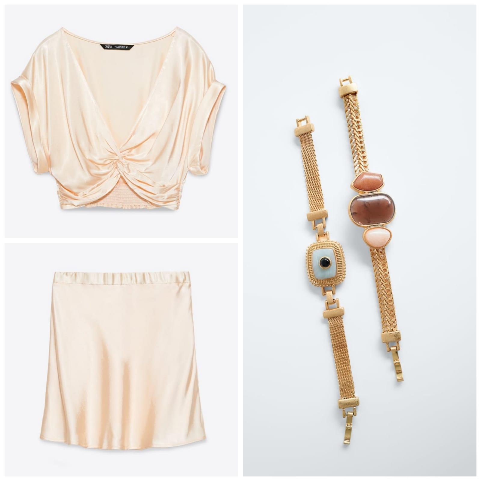 total look de Zara top y falda satinada y pulseras