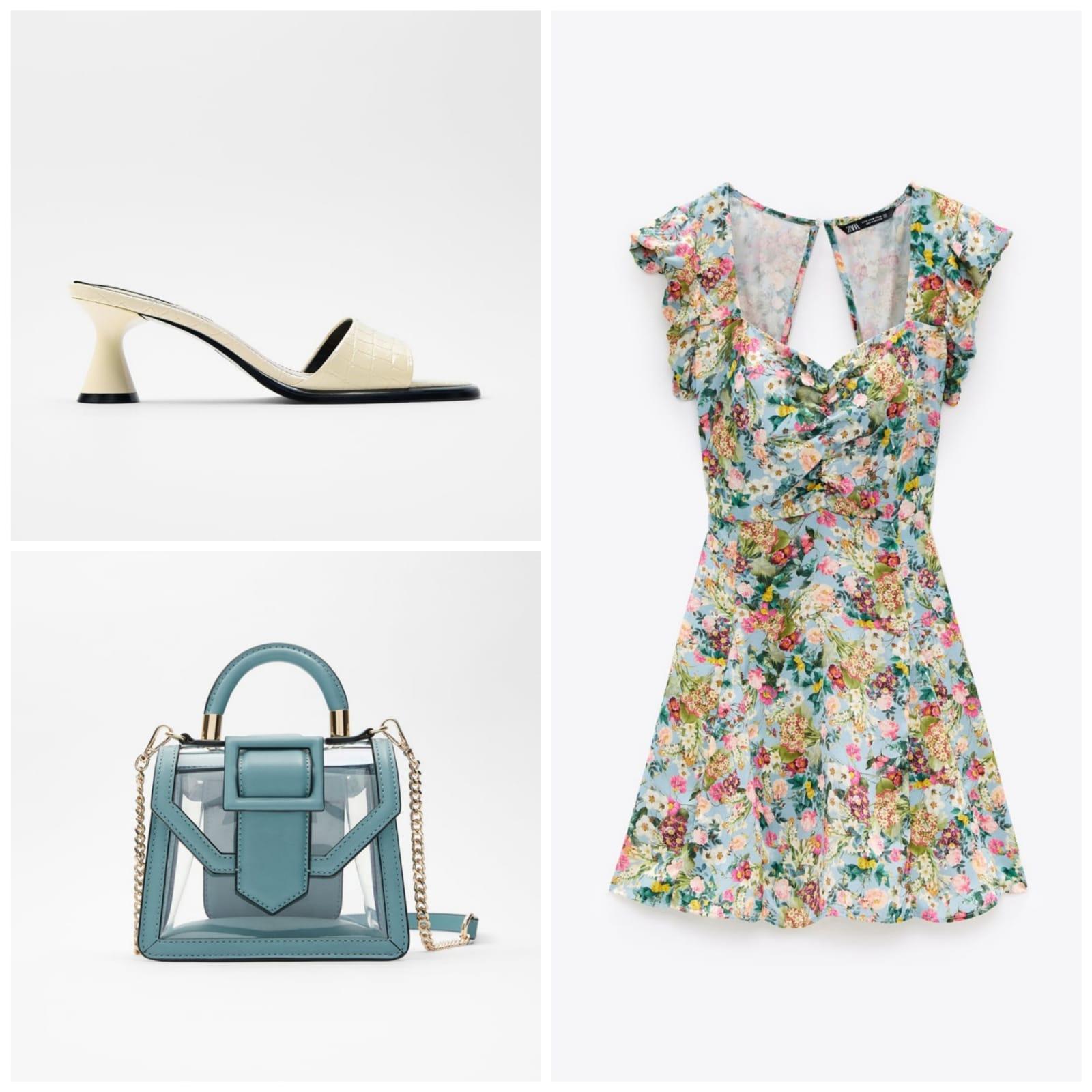 total look Zara: vestido estampado, zapatos tacon bajo y bolso azul